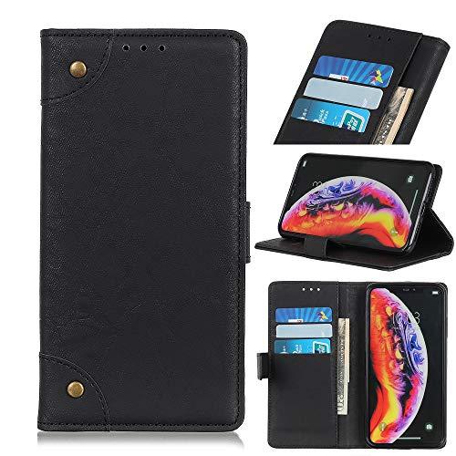 BAIYUNLONG - Funda protectora para OnePlus 7 Pro (cierre de hebilla de cobre), diseño retro con texto 'Crazy Horse', color negro