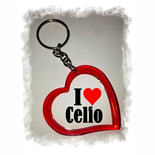 """EXCLUSIVO: Llavero del corazón """"I Love Celio"""" , una gran idea para un regalo para su pareja, familiares y muchos más! - socios remolques, encantos encantos mochila, bolso, encantos del amor, te, amigos, amantes del amor, accesorio, Amo, Made in Germany."""