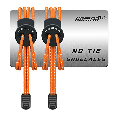 No Tie Shoelace for Kids and Adults - Best in Replacement Shoelaces - Reflective Round Athletic Running Shoe Laces with Multicolor for Sneaker Boots Oxfords Board Shoes and Casual Shoes (Orange)