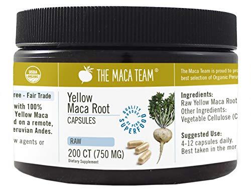 Gelbe Maca Wurzel Kapseln, Roh, bio- zertifiziert, frische Ernte aus Peru, Fair Trade, glutenfrei, vegan – 750 mg, 200 Ct