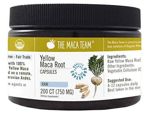 Maca Amarilla Cruda BIO en cápsulas, 750 Mg, 200 Cápsulas, recién cosechada de Perú, comercio Justo, sin OGM, sin Gluten y Vegana.