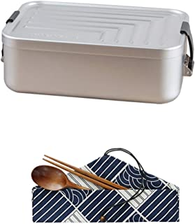 Lunch Box Aluminum Creative Lunch Box Student Canteen for Outdoor Picnic Lunch Box (Color : Silver, Size : Suit one)