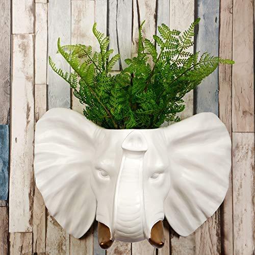 Walplus 2 in 1Garden Decorativa Vaso da Fiori da Parete Sintetico Taxidermy Testa per Muro Decorazione Animale Riproduzione Decorativi da Attaccare Arte Scultura Regalo Bianco Elefante Color Oro Zanne