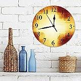 Silencioso Wall Clock Decoración de hogar de Reloj de Redondo,Decoración de cobre, líneas de cuadros abstractos Colores vibrantes Desenfoque Diseño de re,para Hogar, Sala de Estar, el Aula