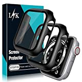 L K LϟK 2 Pack Case Built-in Tempered Glass Screen Protector for Apple Watch 40mm Series 6 5 4 SE - Overall Hard PC Screen Protective Case HD Clear Ultra Thin Cover for iWatch 40mm Series 6 5 4 SE