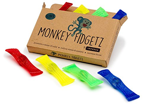 Monkey Fidgetz Mesh-and-Marble Fidget Toy - 8-Pack - Stress/Anxiety Relief for Adults and Kids - Great Mesh and Marble Toys for Sensory Need - BPA-Free - by Impresa