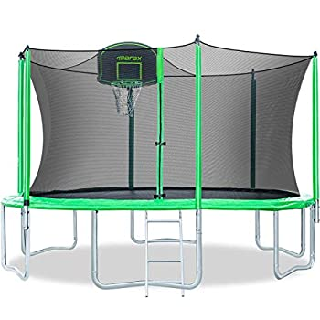 Merax 12FT 14FT Trampoline with Enclosure Kids Trampoline with Basketball Hoop Ladder and Backboard Net  12FT-Green