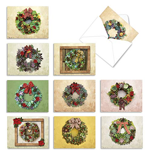 The Best Card Company - 10 Thank You Cards for Christmas - Assorted Holiday Gratitude Notecards, Bulk Thank Yous (4 x 5.12 Inch) - Succulent Wreaths M2942XTG