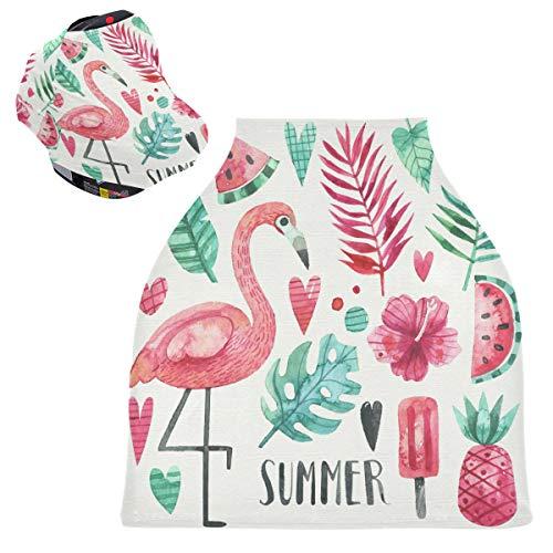 Sinestour Fundas de asiento de bebé de verano para acuarelas, diseño de flamenco, para cochecitos de lactancia y lactancia, toldo multiusos