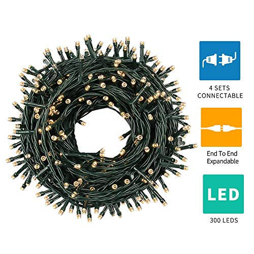 Green Convenience Christmas String Lights 108ft 300 LED Indoor String Lights with Plug,8 Modes Lights Waterproof - UL Certified Outdoor Indoor for Christmas,Party,Bedroom,Window,Wedding Decoration