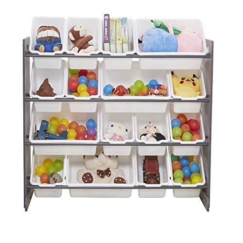 Bonnlo Kids Toy Storage Organizer, Children Wood Toy Storage Shelf Unit with 16 Stackable Plastic Bins (Gray, 16 pcs)