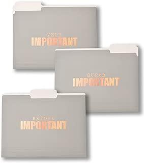 Gartner Studios Very/Super/Beyond Important File Folders with Rose Gold Foil, 6 Count