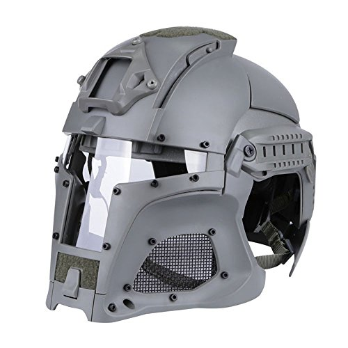 Gstrand Cosplay Protective Helmet, Base Army Commet Motorrad-Helm Motorrad-Helm Paintball Full Cover Helm Mittelalterlicher Kriegerhorm,B