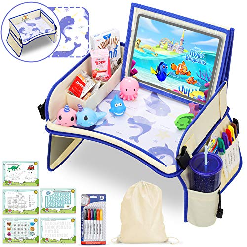 Kids Travel Tray, Car Seat Tray with XL (14.5 Inch) Detachable iPad Tablet Pocket Dry-Erase Desktop Car Seat Table with 5 Drawing Papers & Back Storage Pocket, Narwhal