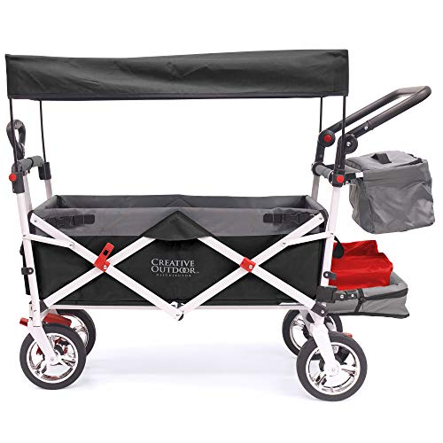 Creative Outdoor Push Pull Collapsible Folding Wagon Cart   Silver Series   Beach Park Garden & Tailgate   Black