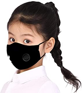 Unisex Children's Mask Funny Cute Print Dustproof PM2.5 Face Mask with Breathing Valve Reusable Mask Cover (Black G)