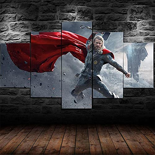 BHJIO Impresiones En Lienzo 5 Piezas Personajes De Superhéroes De Los Vengadores Poster HD En Lienzo Modular Modern Interior Decorations Wall Art-Tamaño Regalo 150 * 80Cm.