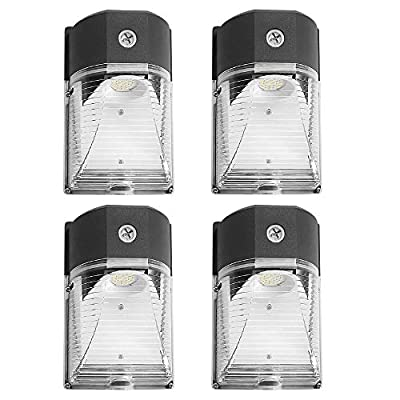 CINOTON LED Wall Pack Light, 26W 3000lm 5000K (Dusk-to-Dawn Photocell,Waterproof IP65), 100-277Vac,150-250W MH/HPS Replacement, ETL DLC Listed Outdoor Security Lighting (4pack)