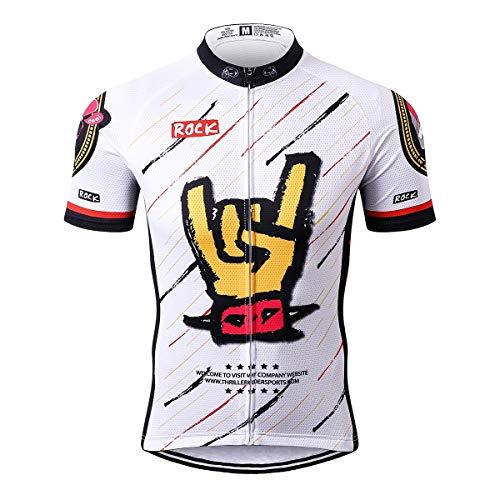 Thriller Rider Sports® Herren Rock Music White Sport & Freizeit MTB Fahrradbekleidung Radtrikot Large