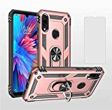 Asuwish Phone Case Designed for Xiaomi Redmi Note 7/7s/7Pro Cases with Tempered Glass Screen Protector and Magnetic Metal Ring Holder Stand Kickstand Shockproof Xiami Xiomis Xiome Redme Note7 Pro Pink