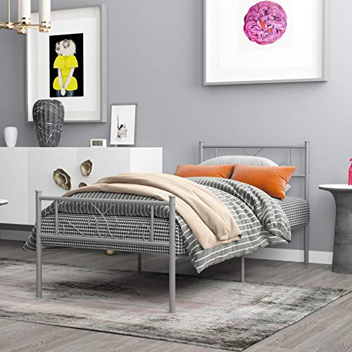 WeeHom Twin Size Bed Frame Metal Platform Bed Mattress Foundation/Box Spring Replacement with Headboard Silver Best for Girl Kids Adults Easy Assemble