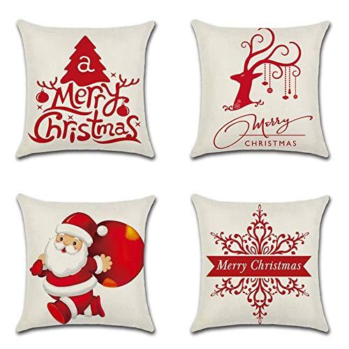 Artscope 4 Pack Natale Federe Decorativo Cuscini per Divani Cotone Biancheria Gettare Caso Federa per Cuscino Divano Letto Auto, 45 x 45 cm (Merry Christmas Rosso)
