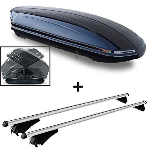 Dachbox schwarz glänzend VDP-MAA 580 DUO Auto Dachkoffer beidseitig aufklappbar 580 Liter abschließbar + Alu-Relingträger Dachgepäckträger für aufliegende Reling im Set für Honda Civic IX Tourer ab 13