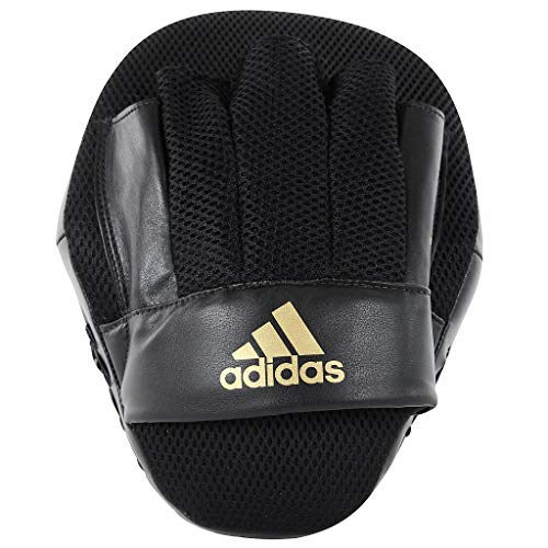 adidas Boxing Pads Focus Mitts Kids Men Women Curved Gym Fitness Training Martial Arts Guantes, Unisex Adulto, Negro y Dorado, Talla única