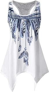 Jojckmen Women Girls Feather Print T-Shirts Summer Vest Sleeveless Sexy Tee Tank Tops