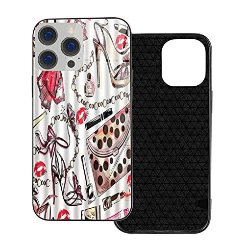 GOCHAN Funda Protectora de Lujo para teléfono móvil iPhone 12 TPU,Perfumes de lápiz Labial Rojo Lip Print,Cáscara Protectora de Vidrio Templado para teléfono móvil de Lujo Anti-caída
