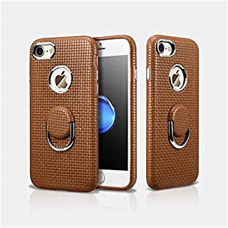 Icarer Back Cover For Iphone 7/8 Finger Ring Genuine Leather Woven Pattern Hand Made, Brown