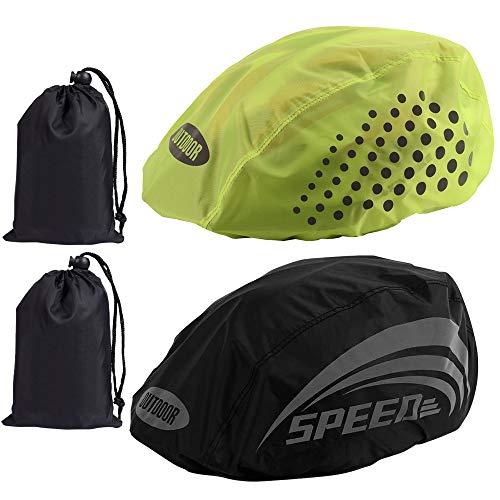 Gobesty - Copertura antipioggia per casco da bicicletta, 2 pezzi, con borsa portaoggetti, impermeabile, con cordino regolabile per ciclismo, equitazione (1 verde fluorescente e 1 nero)