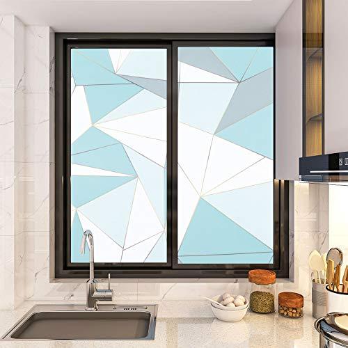 KINLO Fensterfolie Statisch Haftend Sichtschutzfolie Streifen Glasdekorfolie 90x200cm Privatsphaere Selbstklebend Klebefolie PVC Anti UV sichtschutz Fenstersticker Fenster Folie(Königsblau)