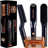 Tame's Easy Glide Beard Straightener - Fast Anti-Scald Beard Straightening Comb - Ceramic Heated Beard Brush - 3 Temperature settings - Bonus Double Sided Detangle Comb Included - Gift Set