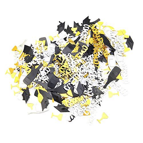 Lsaardth Confeti de graduación: Confeti de graduación, Decoraciones de Fiesta de graduación de Confeti(Black Gold and Silver 19-Oro Negro y Plata)