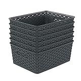 Xyskin Cestas de almacenamiento de plástico, 6 unidades, color gris oscuro