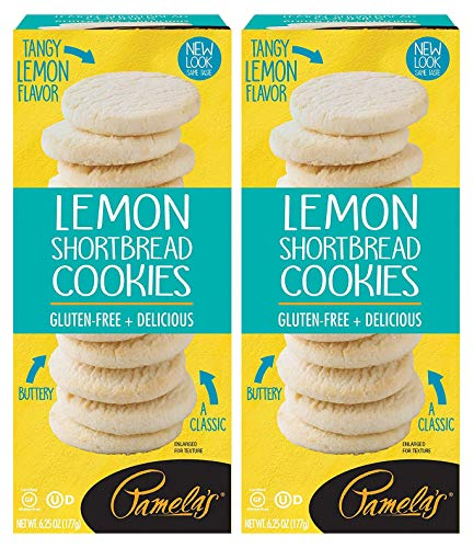 Pamela's Lemon Shortbread Traditional Cookies, 6.25 OZ, Pack of 2