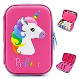 Astuccio con grazioso unicorno in rilievo, astuccio portapenne a forma di unicorno, per bambini, grande, per matite, penne e cancelleria,anche per cosmetici per bambine Hot Pink