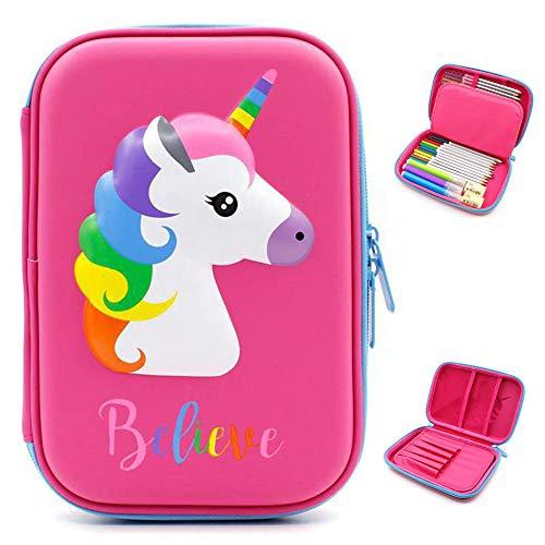 Bonito estuche con diseño de unicornio en relieve, Estuche para lápices con diseño de unicornio en relieve,caja de lápices para niños, estuche con múltiples compartimentos, color Unicorn Pink