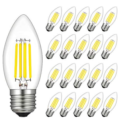 RANBOO Ampoules LED Filament Flamme E27 4W Equivalent 40W Blanc Froid 6500K 400LM Ampoule LED E27 Flamme Forme Bougie Ampoule Filament LED Flamme Bougie Non-Dimmable Lot de 20