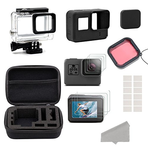 GreatCool GoPro Hero 5 6 Accessories Kit,Accessory Kit for Gopro Hero 5 6 with Travel Case ,Housing Case, Filter ,Tempered Glass Protective Film, Lens Cover ,Silicone Protective Case, Anti Fog Inserts