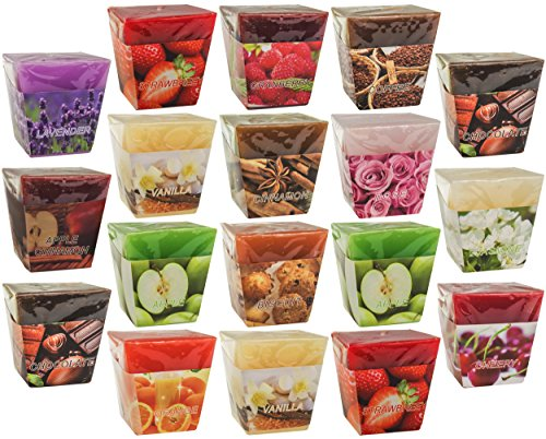 All2Shop Scented Votive Candles Set of 18 Assorted Pure Scents for Relaxation & Aromatherapy (18 Assorted Scents, Normal)