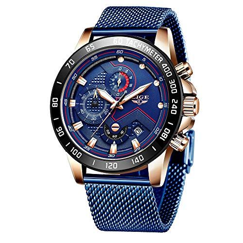 LIGE Orologi da Uomo Impermeabile Cronografo Sportivo Orologio Acciaio Inossidabile Orologio da Polso