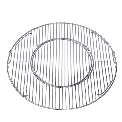GasSaf Grill Grates Replacement for Weber 8835, 22.5 inch Charcoal Grills, Kettle, Performer, Master-Touch and Others, 21.5 Inches Gourmet BBQ System Hinged Stainless Steel Cooking Grate Grids