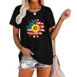 Tops for Women Crew Neck Sunflower T Shirts Short Sleeve Loose Tunic Casual Plus Size Basic Tees Henley Top Blouse