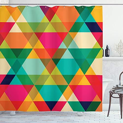 ABAKUHAUS Bunt Duschvorhang, Abstrakte geometrische Kunst, mit 12 Ringe Set Wasserdicht Stielvoll Modern Farbfest & Schimmel Resistent, 175x180 cm, Mehrfarbig