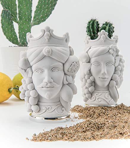 MAZZOLA LUCE Piccole SCULTURE da Tavolo Coppia Teste di Moro H9.5CM Bianco I Mori Idea Regalo