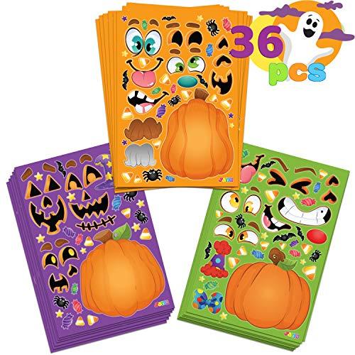 36 Hojas de Pegatinas de Calabaza Halloween Hacer Su Mezcla de Personajes Propios y Combinar Hojas de Pegatinas con 3 Expresiones Faciales Diferentes Artesanía infantil