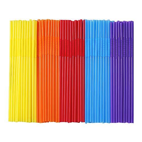 500 Pcs Colorful Disposable Plastic Long Flexible Straws.(0.23