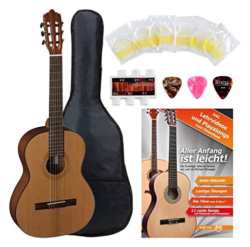 La Mancha Rubinito CM/63 Konzertgitarre Starterset (7/8 Klassigitarre, massive kanadische Zederndecke, Griffbrett: Ovangkol, inkl. umfangreichem Zubehörset) Natur offenporig matt